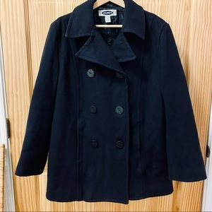 Old Navy black recycled wool pea coat jacket XL